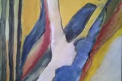 #56 Abstrakt gult 60x80 cm. Solgt